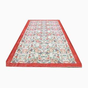 Vintage Turkish Handmade Borders Floral Wool Oushak Area Rug