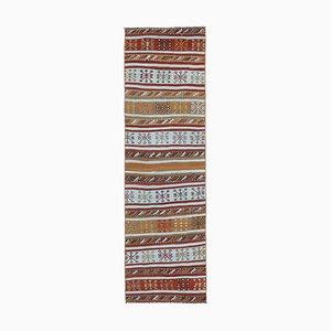 Vintage Turkish Handmade Flatweave Wool Oushak Kilim Hallway Rug