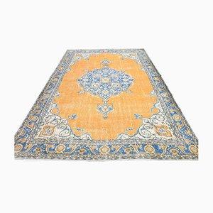 Vintage Area Teppich, handgefertigter türkischer Oushak Wollteppich, Flurteppich