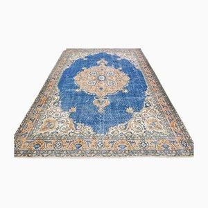 Vintage Turkish Oriental Handmade Blue Wool Oushak Area Rug