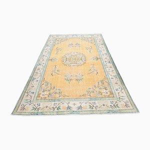 Small Vintage Turkish Oriental Handmade Blue Wool Oushak Carpet