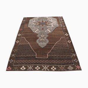 Low Pile Vintage Turkish Oriental Handmade Brown Wool Oushak Rug