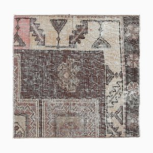 Vintage Turkish Square Handmade Wool Oushak Rug