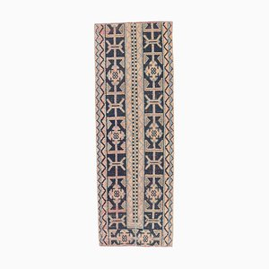 Vintage Turkish Handmade Patchwork Wool Oushak Hallway Runner