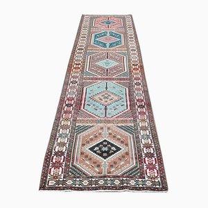 Vintage Turkish Oriental Handmade Multi-Colored Wool Oushak Hallway Rug