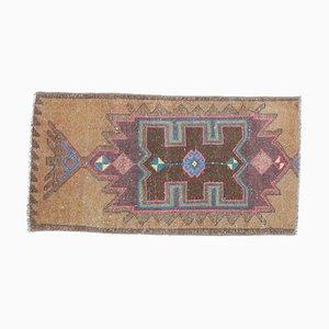 Mini Vintage Turkish Handmade Bronze Wool Oriental Oushak Carpet