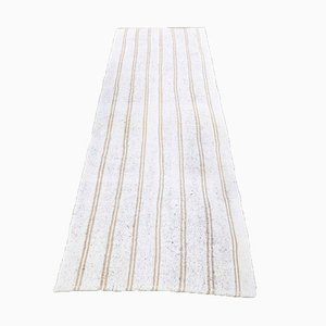 Turkish Handmade Wool Oushak Runner Rug in White with Stripes