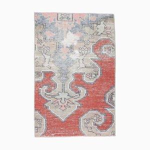 Small Turkish Handmade Wool Oushak Rug or Door Mat in Red