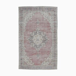 Large Middle Eastern Handmade Wool Heriz Oushak Rug in Crimson