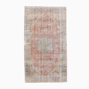 Vintage Turkish Oushak Handmade Orange Wool Oriental Carpet