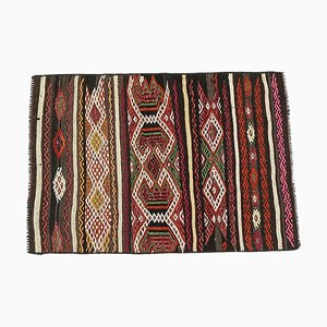 Vintage Turkish Cacim Kilim Oushak Handmade Wool Mini Rug