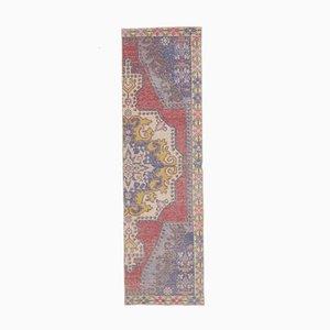 Vintage Turkish Oushak Handmade Oriental Red Wool Half Rug