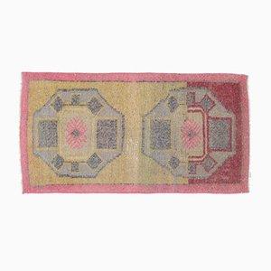 Vintage Turkish Oushak Rug Mini Carpet