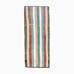 Vintage Turkish Oushak Handmade Striped Wool Rug