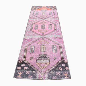 Vintage Turkish Oushak Hand-Knotted Pink Wool Rug