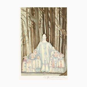 Marcel Marceau, Bip en famille, 1985, Litografia su Arches Paper