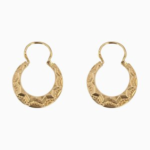 French 18 Karat Rose Gold Chiseled Creole Earrings, 1950s, Set of 2
