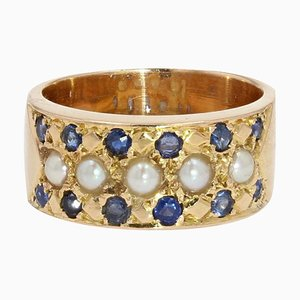 19th Century French Sapphire, Natural Pearl & 18 Karat Yellow Gold Ring