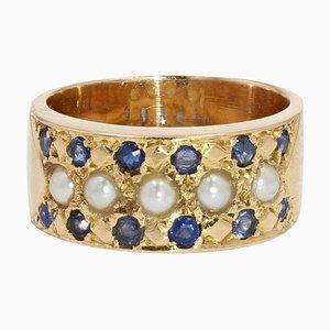 Französischer Ring aus 18 Karat Gelbgold mit Saphir, 19. Jh