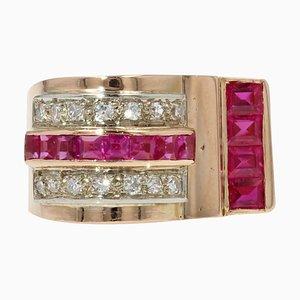 French Ruby, Diamond & 18 Karat Rose Gold Asymmetrical Tank Ring, 1950s
