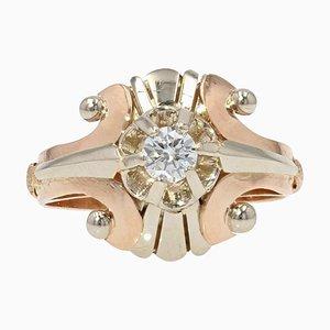 Diamond & 18 Karat White and Rose Gold Ring, 1950s