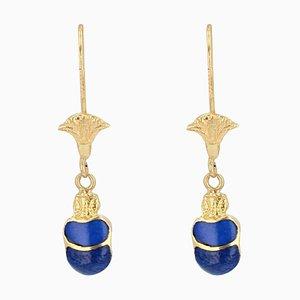 Modern Lapis Lazuli & 18 Karat Yellow Gold Beetle Earrings, Set of 2