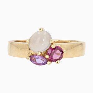 Moderner Ring aus 18 Karat Gelbgold mit Amethyst, Granat, Mondstein