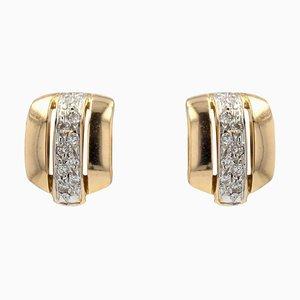 Modern Diamond & 18 Karat Yellow Gold Earrings, Set of 2