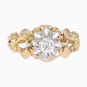 0,30 Karat Diamant & 18 Karat Gelbgold Solitär Ring, 1950er