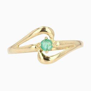 Moderner Smaragd & 18 Karat Gelbgold Ring