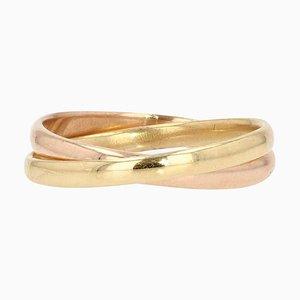 Modern 18 Karat Yellow & Rose Gold Interlaced Ring