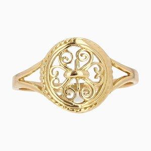 Modern 18 Karat Yellow Gold Filigree Ring