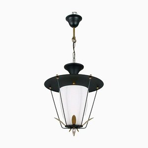 Mid-Century French Black and White Lantern with Brass Details, 1950s