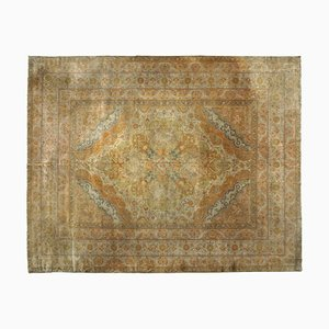 19th-Century Indian Gold, Brown & Beige Carpet with Medallion, 1870