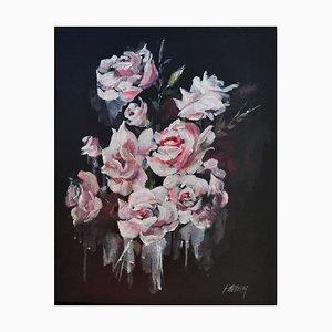 Liliane Paumier, Branche de roses en fleur, 2021, Acrylic on Canvas
