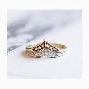 Zweifarbiger 14K Gold V-Ring mit Diamanten, 1970er