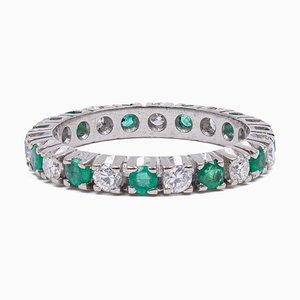 Vintage Eternelle Ring in 18K White Gold with Diamonds and Emeralds, 1970s or 1980s