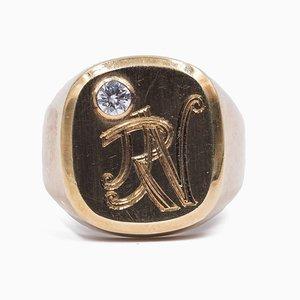 Vintage Ring aus 14 Karat Gelbgold mit Diamanten von ca. 0,15 Ct, 1950er