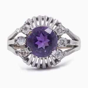 Vintage 14K Weißgold Ring mit Amethyst und Diamanten, 1960er