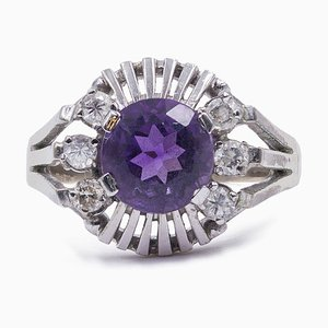 Vintage 14K White Gold Ring with Amethyst and Diamonds, 1960s