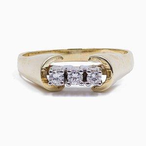 Vintage 14 Karat Goldring mit 3 Diamanten im Brillantschliff, 1970er