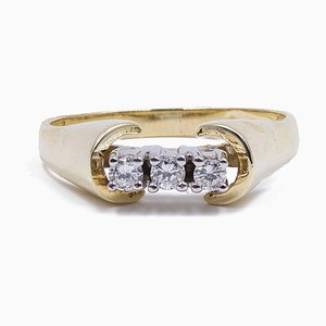 Vintage 14K Gold Ring with 3 Brilliant Cut Diamonds, 1970s