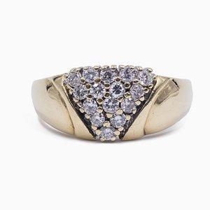 Vintage 14K Gelbgold Ring mit Diamanten im Brillantschliff, 1970er