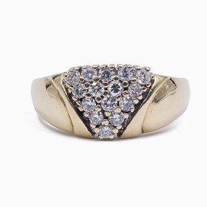 Vintage 14K Yellow Gold Ring with Brilliant Cut Diamonds, 1970s