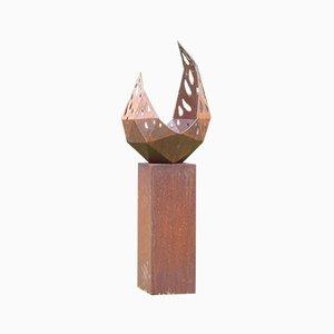 Stefan Traloc, Drop with Angled Pedestal, 2021, Steel & Panel