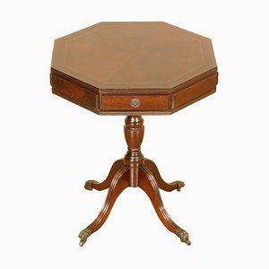 Flamed Mahogany Drum Side Table with Two Drawers