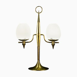 Lampe de Bureau en Laiton et Verre de Murano Opalin