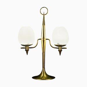 Messing und Opalglas Murano Glas Tischlampe