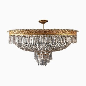 Oval Shaped Crystal and Brass Chandelier, Italy, 1940