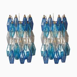 Poliedri Wandleuchten in Blau & Hellblau, 2er Set